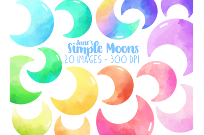 Watercolor Simple Moons Clipart