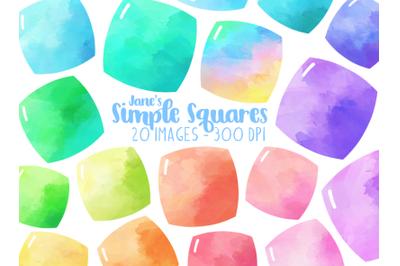 Watercolor Simple Squares Clipart