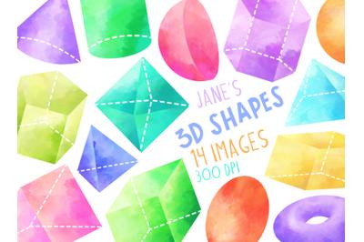 Watercolor 3D Shapes Clipart