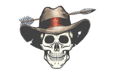 The Skull in Arrow shot Cowboy Hat Tattoo