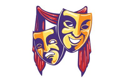 Theater Masks Retro Emblem