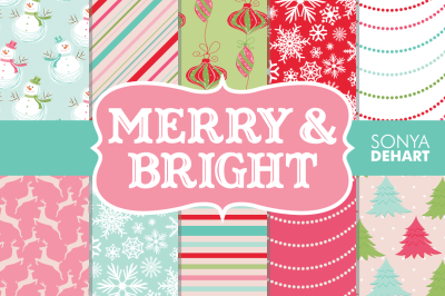 Digital Papers Merry and Bright Christmas Patterns