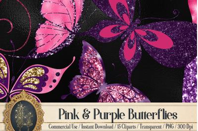 15 Pink Purple Gold Glitter Foil Fairy Butterfly Clip Arts