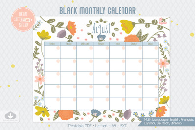 12 Monthly Calendar Floral | Blank Template | Multi Language