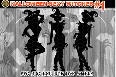 Halloween Sexy Witches SVG Clipart V-1