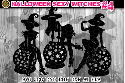 Halloween Sexy Witches SVG Clipart V-4