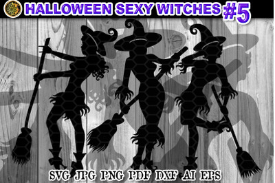 Halloween Sexy Witches SVG Clipart V-5