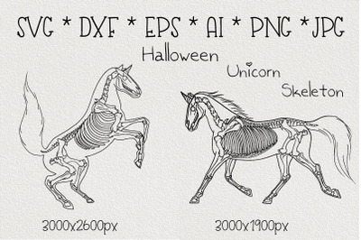 Halloween skeletons of unicorns.Sublimation SVG.Cut file png
