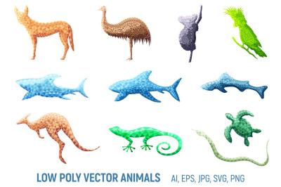 Low poly vector australian animals