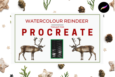 Watercolour Reindeer Toolkit for Procreate