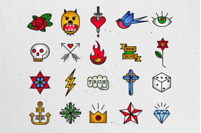 Old School Tattoo Icons