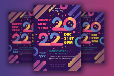 Modern Happy 2022 New Year Poster