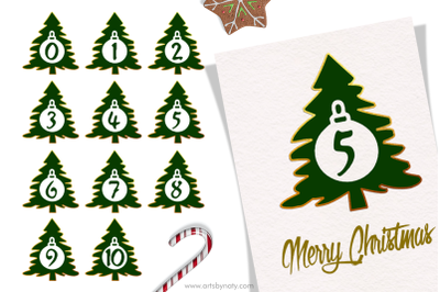 Christmas trees, numbers, and gold SVG.