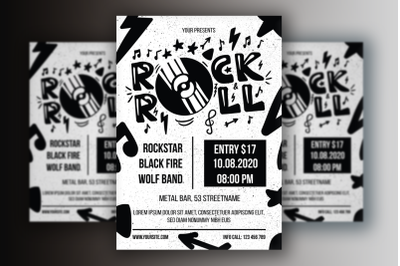 Monochrome Rock 'n' Roll  Poster Template