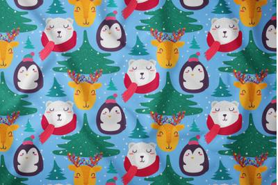 Cartoon Winter Animals Seamless Pattern