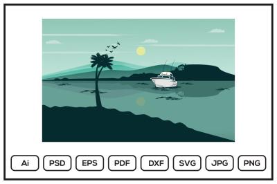 Lake landscape design illustration