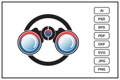 Binoculars logo design illustration