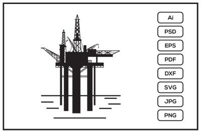 Oil rig drilling platform design illustration