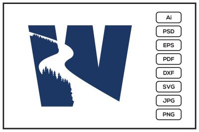 Letter W logo with river design illustration