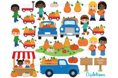 Fall Pumpkin Truck Clipart, Pumpkin Patch, Fall Kids