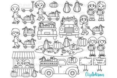 Fall Pumpkin Truck Clipart, Fall Kids Digital Stamp