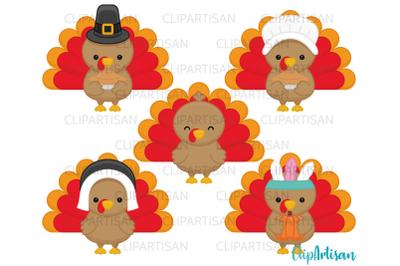 Turkey Day Clipart, Thanksgiving Turkeys, Pumpkins, Autumn