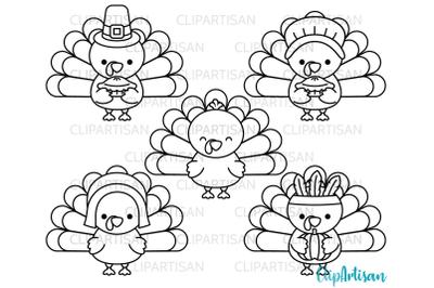 Turkey Day Clipart, Thanksgiving Turkeys, Digital Stamp