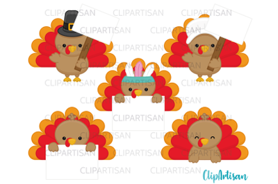 Turkey Day Clipart, Thanksgiving Turkey Signs Labels Toppers