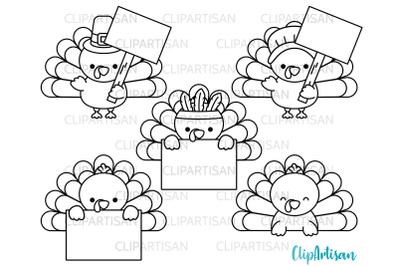 Turkey Day Clipart, Turkey Signs Toppers Digital Stamp