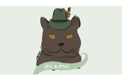 Illustration of a Gray Cat with Feather Hat.