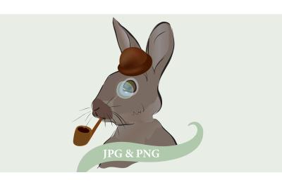 Illustration of aDetective Sherlock Holmes Rabbit with Smoking Pip