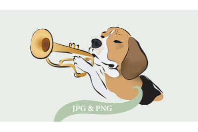 Beagle Dog Playing on Trumpet