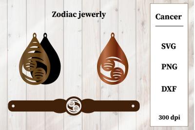 Zodiac Jewelry SVG. Zodiac Sings. Cancer Earring, Bracelet