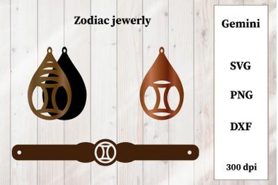 Set of jewelry with zodiac sign. Gemini Earrings, Bracelet