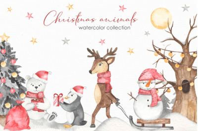 Christmas animals watercolor