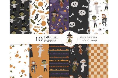 Halloween Kids in Costume digital paper pack