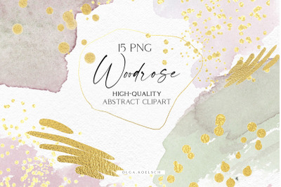 Dusty pink watercolor brush strokes png, Gold abstract clipart