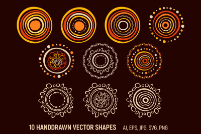 10 doodle round vector shapes
