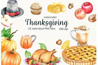 Watercolor Thanksgiving Clipart. Hand drawn autumn harvest clip art.
