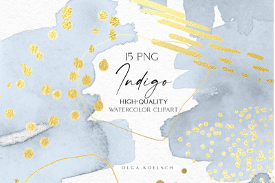 Dusty blue watercolor brush strokes png, Gold abstract clipart, Indigo
