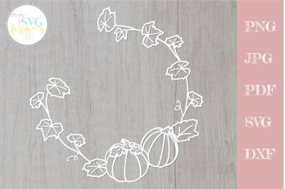 Pumpkin wreath svg, Thanksgiving svg, Hello fall svg