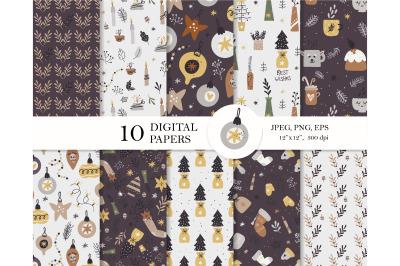 Christmas digital paper pack