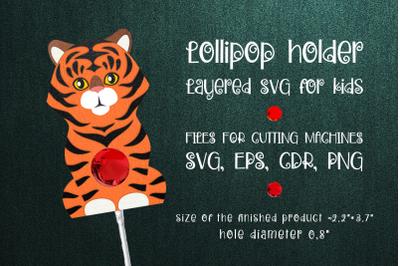 Tiger Lollipop Holder template SVG