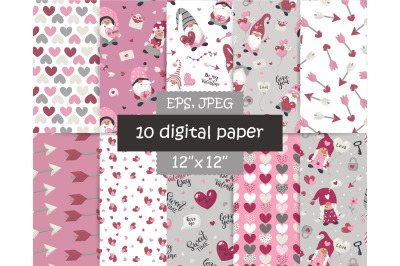 Valentine gnome digital papers pack