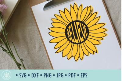 Sunflower Believe SVG cut file