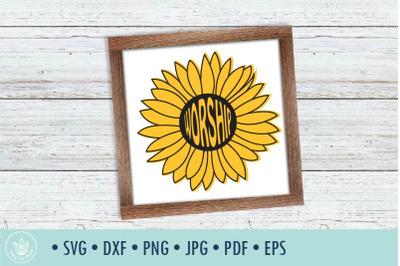 Sunflower Worship SVG cut file