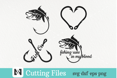 A Bundle of 4 Fishing Svg Vector Files - Fishing Svg Files