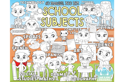 School Subjects Digital Stamps - Lime and Kiwi Designs
