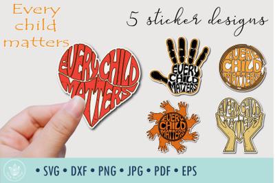 Every child matters 5 Sticker designs