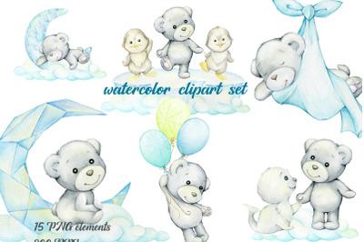 polar bear, watercolor animal clipart, winter clip art, penguin, pengu